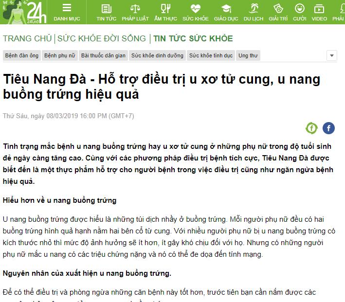 Báo 24h nói về sản phẩm Tiêu Nang Đà