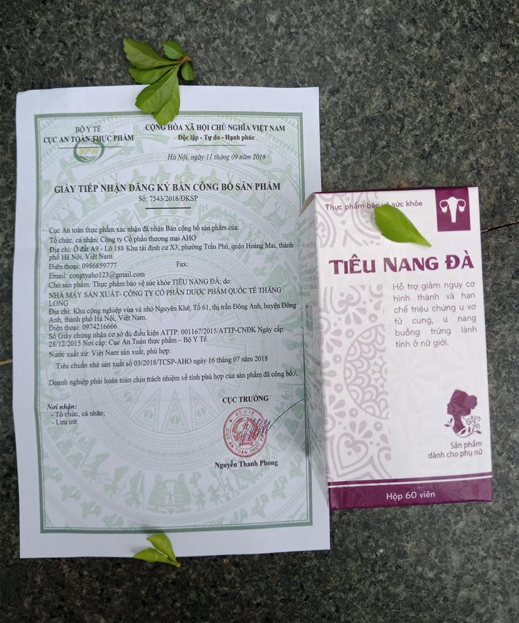 Giấy công bố chứng nhận của bộ y tế về sản phẩm Tiêu Nang Đà