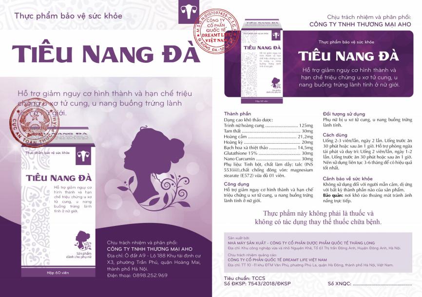 Giấy chứng nhận và công bố sản phẩm Tiêu Nang Đà được bộ y tế cấp phép