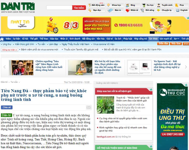 Báo Dân Trí nói về sản phẩm Tiêu Nang Đà