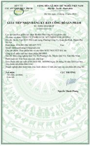 Giấy công bố chứng nhận của bộ y tế về sản phẩm Mẫu Nguyệt Đà