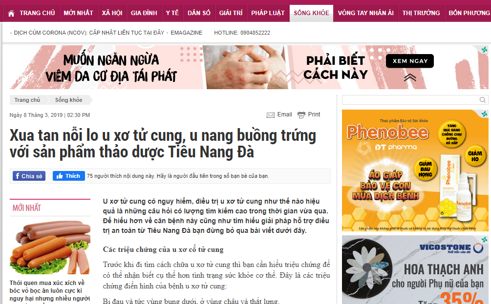 Báo Gia đình nói về sản phẩm Tiêu Nang Đà