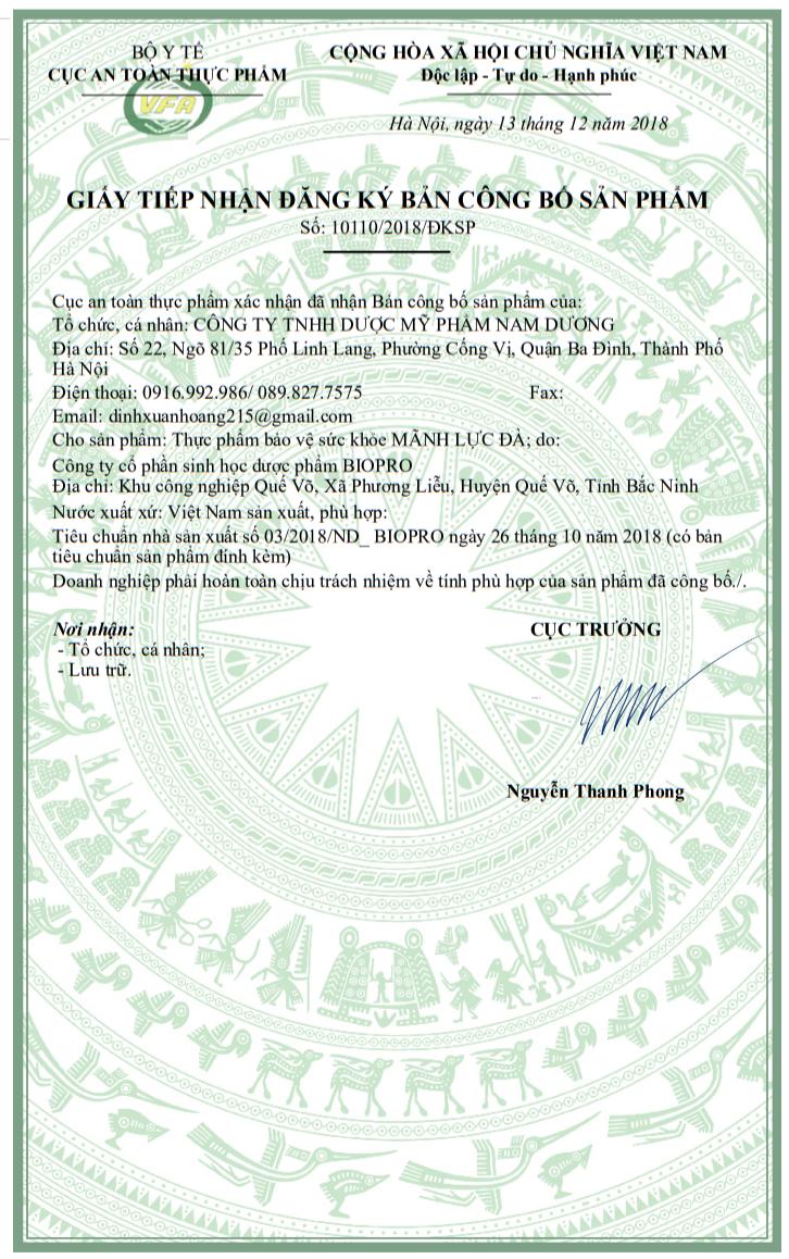 Giấy công bố chứng nhận của bộ y tế về sản phẩm Mãnh Lực Đà