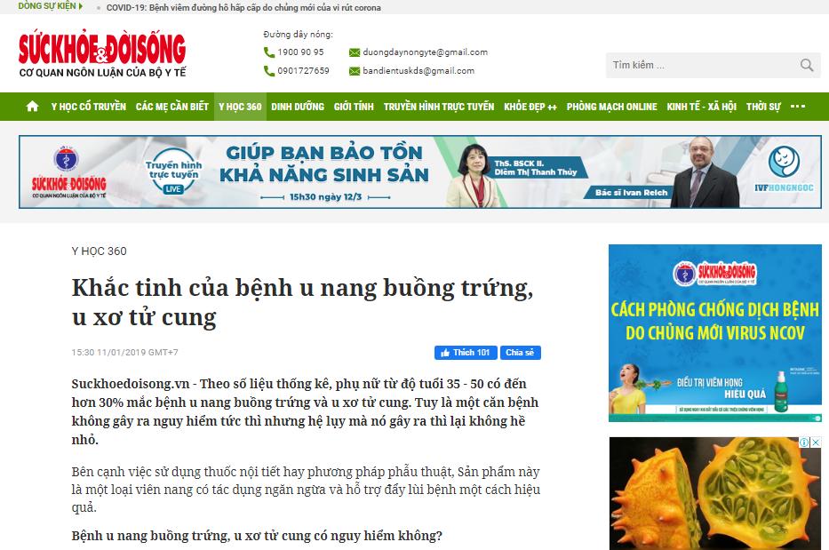 Báo Sức Khỏe Đời Sống nói về sản phẩm Tiêu Nang Đà