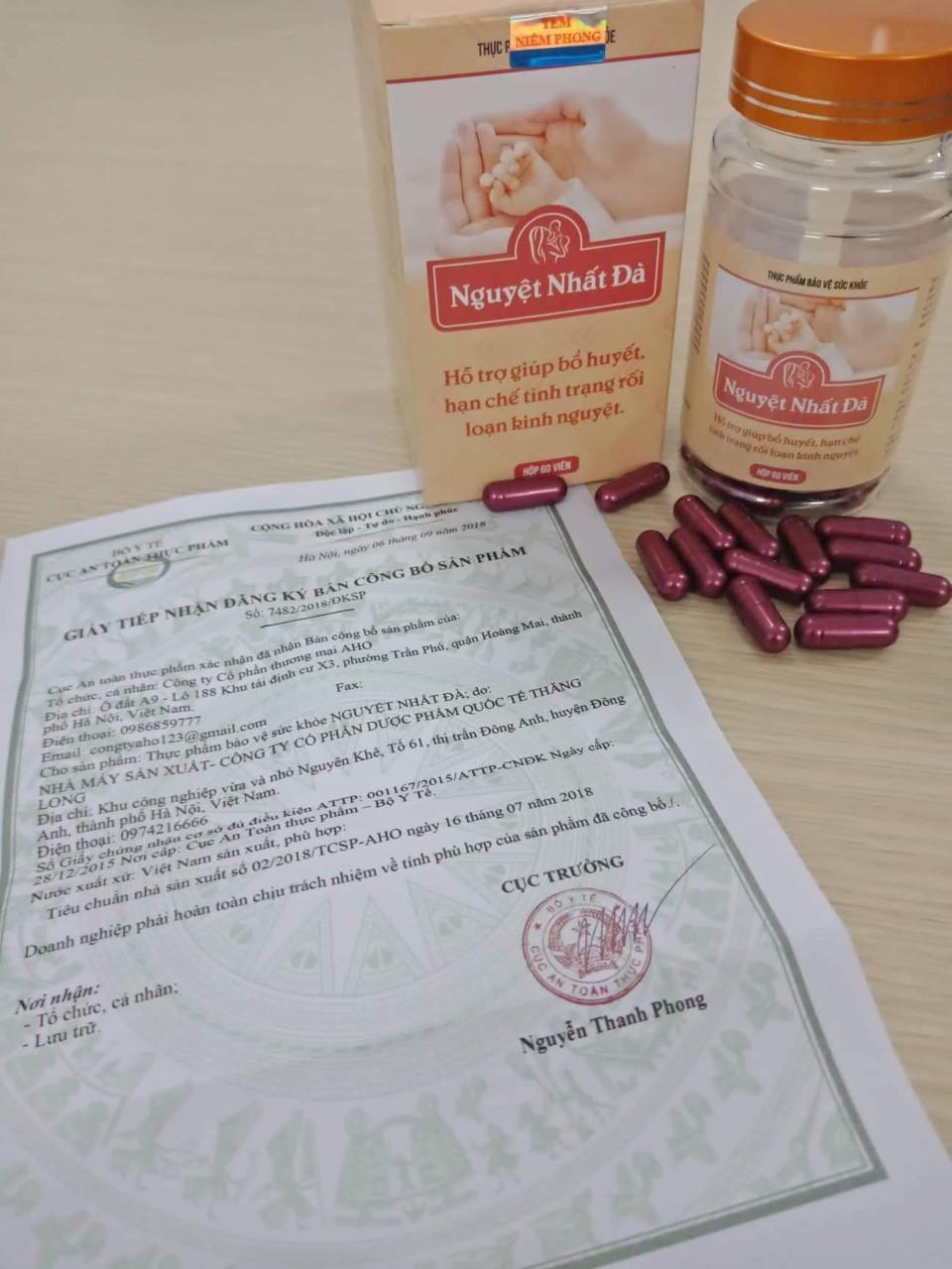 Giấy công bố chứng nhận của bộ y tế về sản phẩm Nguyệt Nhất Đà