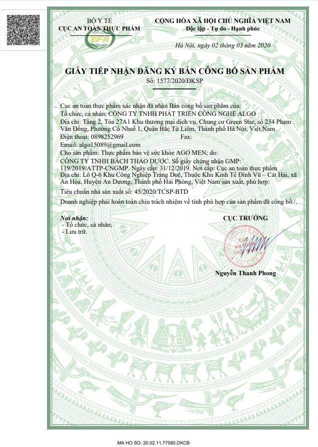 Giấy phép kinh doanh chứng nhận của bộ y tế công bố sản phẩm của sản phẩm Ago Men