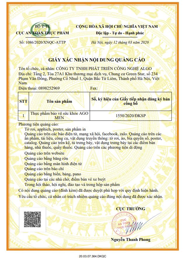 Giấy phép chứng nhận quảng cáo của cục an toàn thực phẩm của sản phẩm Ago Men