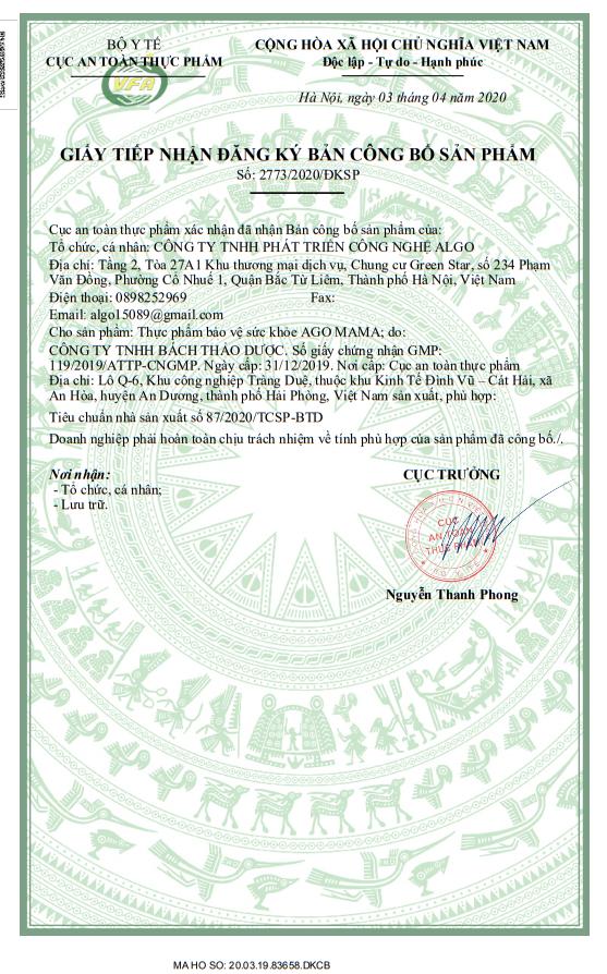 Giấy phép chứng nhận của bộ y tế công bố sản phẩm của sản phẩm Ago Mama