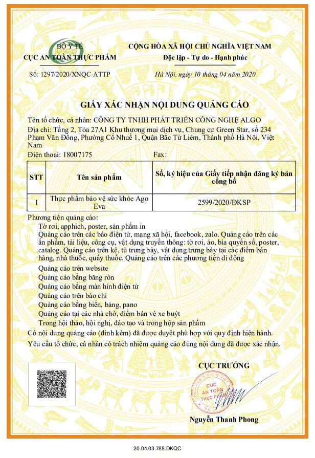 Giấy phép chứng nhận quảng cáo của sản phẩm Ago Eva
