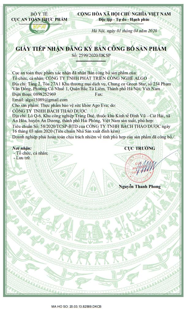 Giấy phép kinh doanh chứng nhận của bộ y tế công bố sản phẩm của sản phẩm Ago Eva