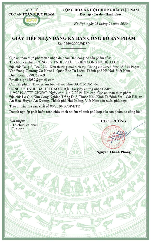 Giấy phép chứng nhận của bộ y tế công bố sản phẩm của sản phẩm Hàu Biển Ago