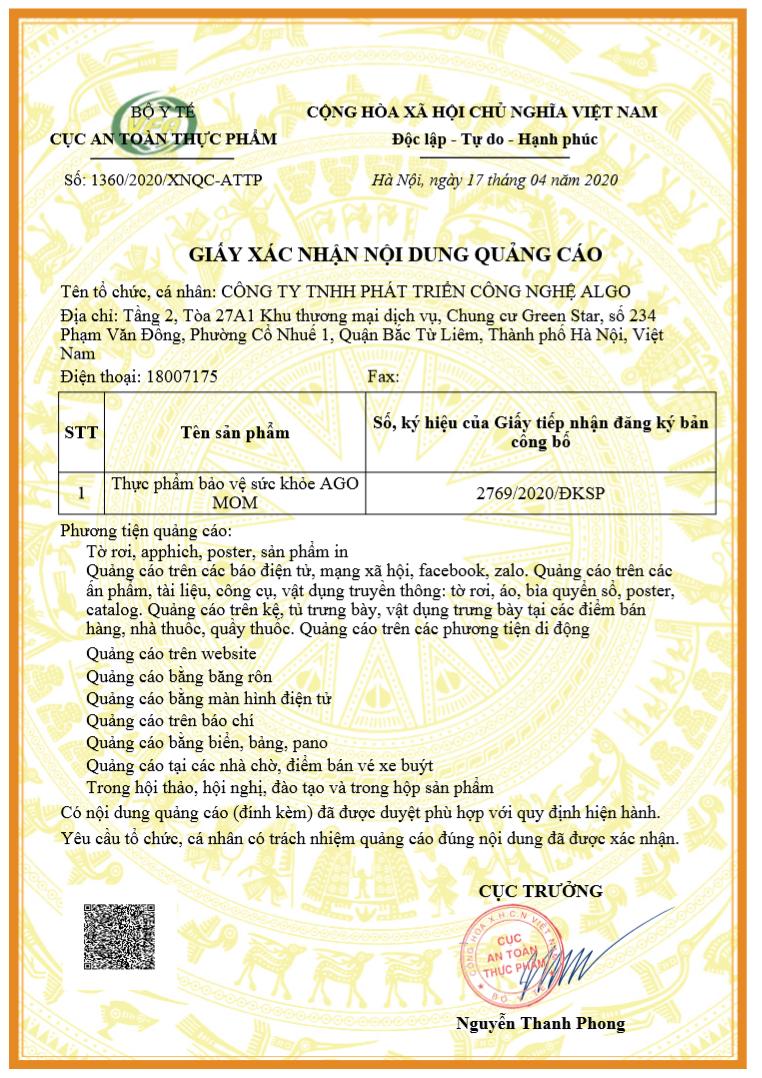 Giấy phép chứng nhận quảng cáo của sản phẩm Hàu Biển Ago