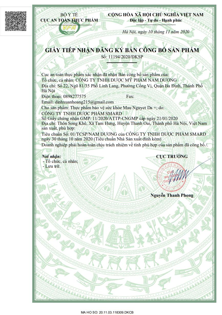 Giấy công bố chứng nhận của bộ y tế về sản phẩm Mẫu Nguyệt Đà Plus