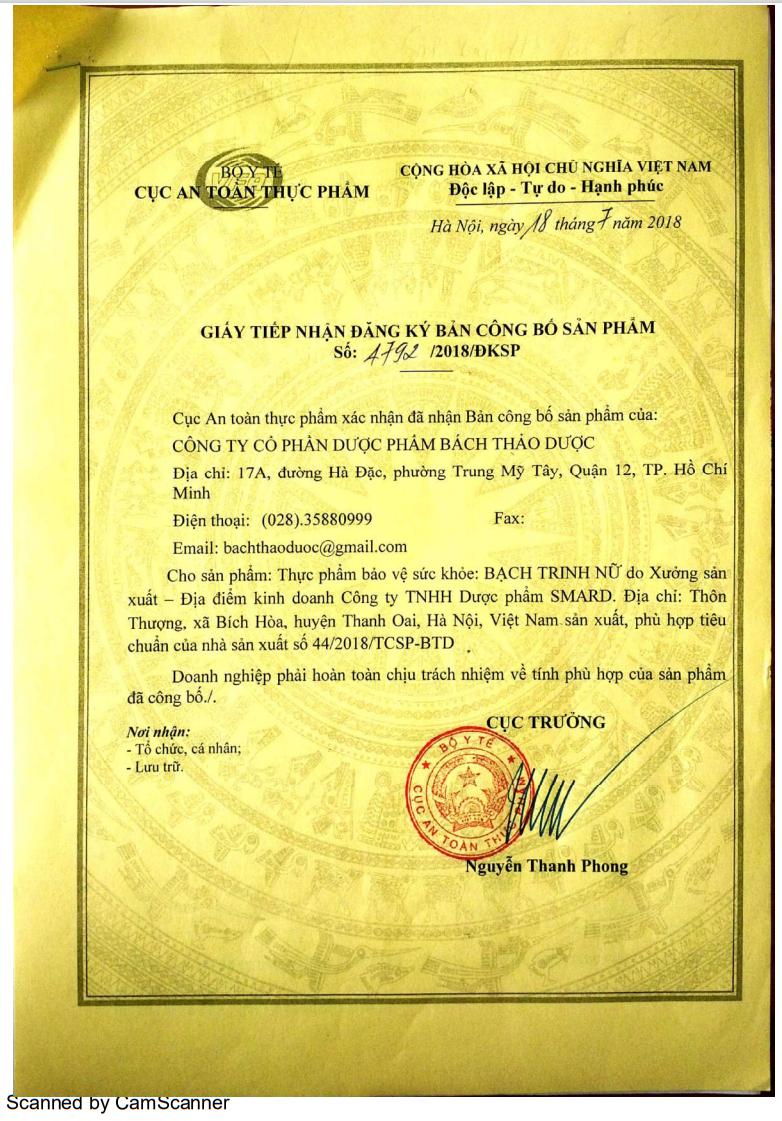Giấy chứng nhận cấp phép về sản phẩm Bạch Trinh Nữ