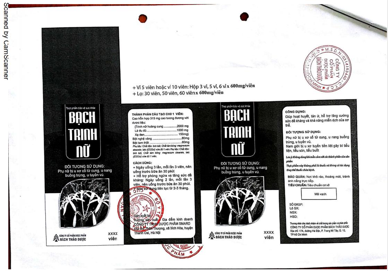 Giấy công bố chứng nhận về sản phẩm Bạch Trinh Nữ